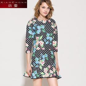 【精选特惠】【上衣+裙子】【骆驼子品牌-小虫】小虫欧美时尚修身潮套装短裙波点印花复古套头套裝裙X4ZT0002D