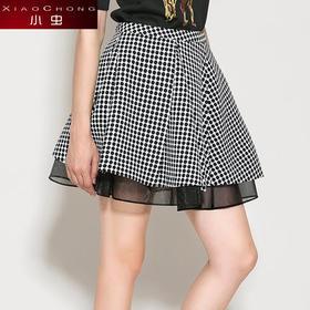 【骆驼子品牌-小虫】小虫时尚蕾丝拼接甜美修身波点蓬蓬裙针织伞裙半身裙短裙X4BQ0025D