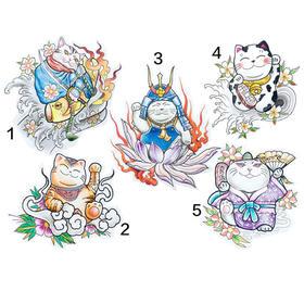 原创图 | 彩色招财猫系列 5 款 by 纹身师 K