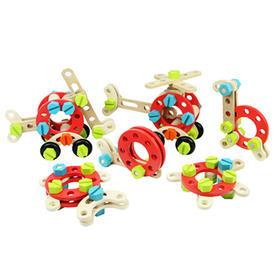 优木 螺母组合木制益智积木玩具,含53个零件,可自由拼装、组合