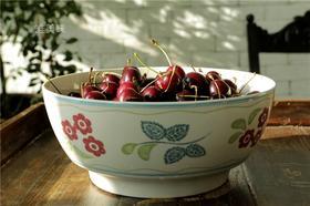 外贸 英伦风乡村风釉下彩 彩描花卉陶瓷大沙拉碗水果碗 满包邮