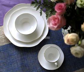 A级真骨瓷 白色蔷薇异形 简餐5件套 轰趴家宴 食尚好礼