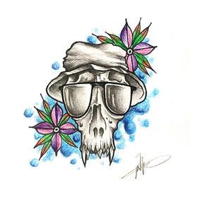 原创图 | 戴墨镜的骷髅 by 纹身师 K
