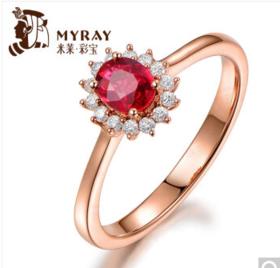 米莱珠宝红宝石女戒指女 18K金镶嵌钻石鸽血红宝石戒指
