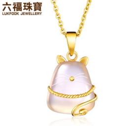 六福珠宝 香港同款招财猫玉髓黄金吊坠