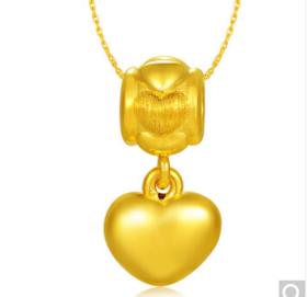 中国黄金 足金3D工艺心形转运珠吊坠 (计价) 1.29