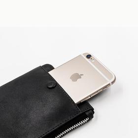 长款牛皮拉链钱包卡包两件套 手拿包零钱包卡包