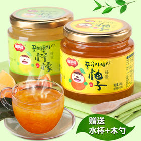福事多蜂蜜柚子茶500g+柠檬茶500g韩国风味水果茶冲饮品