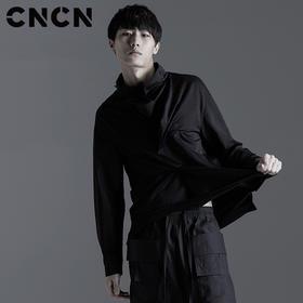 CNCN男装 2017春新款立领修身休闲服个性暗黑风休闲T恤 CNBX10604
