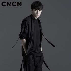 CNCN男装 青年长袖衬衫 黑色潮款男士衬衫 春季休闲衬衣CNBC10205