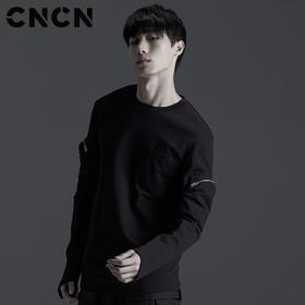 CNCN男装 春暗黑袖袋男士T恤 时尚修身休闲男装t CNBT10915