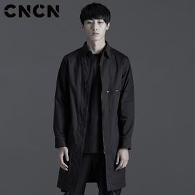 CNCN男装 春季中长款风衣 潮牌翻领长袖衬衫 休闲外套CNBF10601