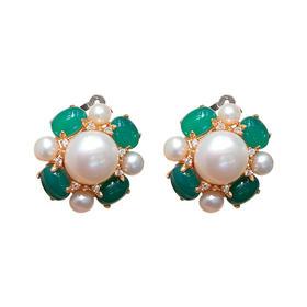翠榴石珍珠耳夹 材质:珍珠 翠榴石 锆钻 925银镀金