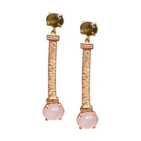 彩晶长款耳坠 材质: 天然粉晶 茶晶 锆钻 925银镀金