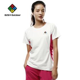 8264户外运动圆T恤领2017新品女士舒适透气吸湿排汗时尚拼色短袖