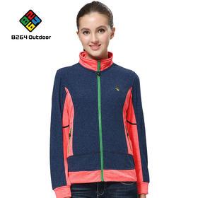 8264 户外女撞色抓绒衣秋冬季运动徒步防风防寒保暖冲锋衣内胆