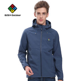 8264 户外男款软壳衣秋冬季防风防寒加绒加厚保暖透气软壳衣外套