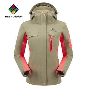 8264 户外女款秋冬季旅行冲锋衣三合一防风保暖可拆卸连帽两件套