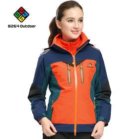 8264 户外东丽面料冲锋衣女三合一两件套防风防寒保暖登山服外套