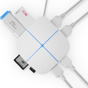 USB多功能分线器  高速扩展TF和SD 可带2T硬盘  8接口智能兼容 七彩发光hub【秒杀】