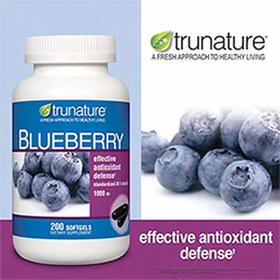 美国直邮 Trunature高浓度天然蓝莓精华1000mg200粒保护视力