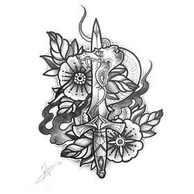 原创图 | 美式传统纹身之匕首 by 纹身师 K