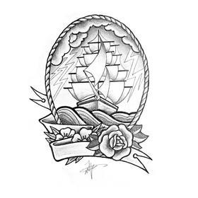 原创图 | 美式传统纹身之帆船 by 纹身师 K