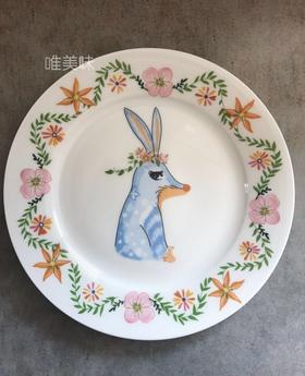 A级真骨瓷小兔小鹿春日森林童话餐盘套组 满包邮