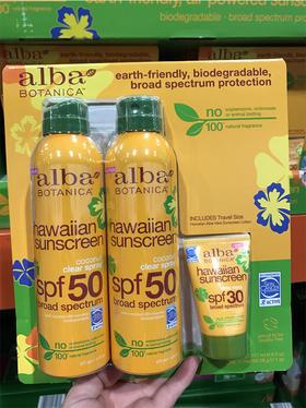 美国直邮 alba botanica夏威夷防晒喷雾 防水清爽不油腻SPF50
