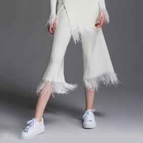 SYUSYUHAN设计师女装品牌 特殊工艺仙气十足丝光流苏垂坠阔腿裤