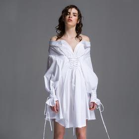 SYUSYUHAN设计师女装 打条工艺露肩腰封绑带宫廷袖纯棉衬衫连衣裙