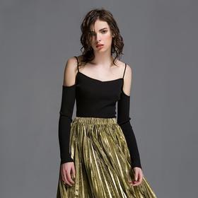 SYUSYUHAN设计师品牌  木代尔棉纱针织螺纹贴身时髦露肩细带上衣