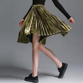 SYUSYUHAN设计师女装品牌 流光溢彩金属感百褶大摆百搭春夏半裙