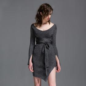 SYUSYUHAN设计师女装品牌 大v领针织绑带修身束腰开衩性感连衣裙