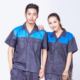 百年老屠现货工装912 时尚蓝色藏青色拼接工装 夏季短袖工作服套装