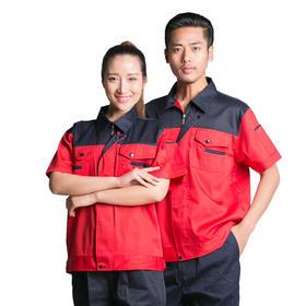 百年老屠现货工装931 新款红配藏青 夏季工作服套装