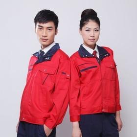 百年老屠现货工装140 经典款红色纱卡 秋冬长袖工作服上衣