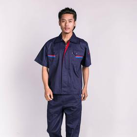 百年老屠现货工装935 经典款藏青配红 夏季短袖工作服套装