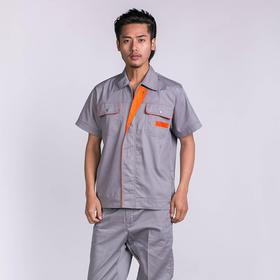 百年老屠现货工装952 经典款藏青桔块 夏季短袖工作服套装