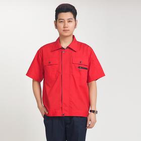 百年老屠现货工装955 经典款红衣蓝裤 夏季短袖工作服套装
