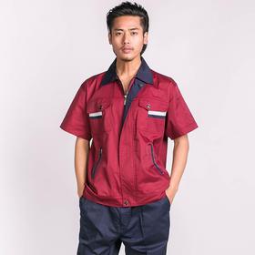 百年老屠现货工装938 经典款紫红配蓝 夏季短袖工作服套装
