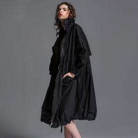 SYUSYUHAN独立设计师品牌 大气剪裁帅气结构大阔型有帽纯棉风衣