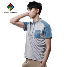8264 户外男士立领短袖2017新品休闲舒适运动T恤透气排汗拼色T恤
