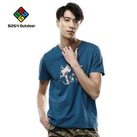 8264男士时尚短袖2017新品夏季印花T恤纯棉舒适吸湿排汗圆领衫