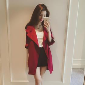 【美货】春季新品宽松中长款外套大翻领七分袖韩版风衣女式显瘦薄款潮