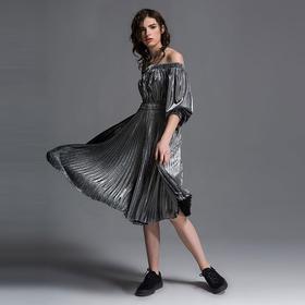 SYUSYUHAN设计师女装品牌 流光溢彩金属感露肩百褶大摆春夏连衣裙