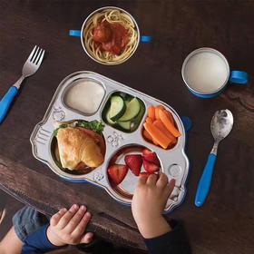 【为思礼】美国进口Innobaby依路比儿童餐具带盖不锈钢分格巴士餐盘