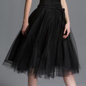 SYUSYUHAN设计师女装品牌 春夏新品黑色交叉绑带网纱裙蓬裙半身裙