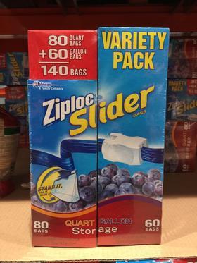 美国直邮 Ziploc slider密保诺拉链式食物保鲜袋密实袋140个