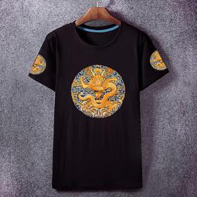 夏季新款皇帝龙袍清朝官服补子短袖T恤
